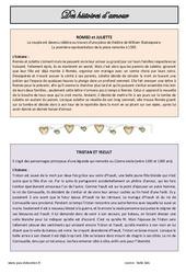 Des histoires d'amour - Cm1 - Cm2 - Lecture sur Roméo et Juliette et Tristan et Yseult