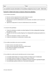 Accidents musculaires – 2nde – Exercices corrigés