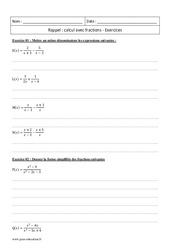 Calcul avec les fractions – Première – Exercices corrigés – Rappel