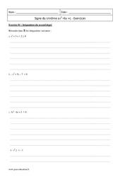 Trinôme ax2 +bx +c – Première – Exercices corrigés