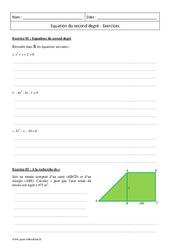 Equation du second degré – Première – Exercices corrigés