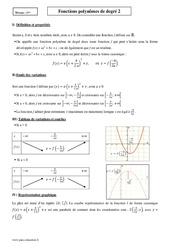 Fonctions polynômes de degré 2 – Première – Cours
