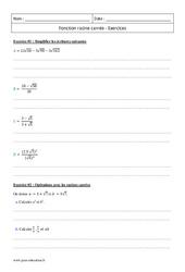 Racine carrée – Première – Exercices corrigés sur la fonction