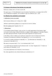 Définition d'une fonction croissante ou décroissante sur un intervalle – Première – Cours