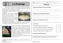 Fromage - Ce1 - Lecture compréhension