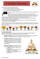 Equilibre alimentaire et nutrition - Cm1 - Cm2 - Lecture