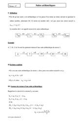Suites arithmétiques – Première – Cours