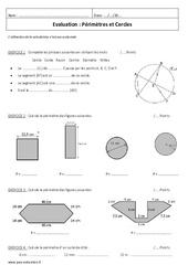 Périmètres et Cercles - 6ème - Evaluation