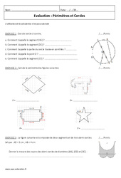 Périmètres et Cercles – 6ème – Contrôle Corrigé