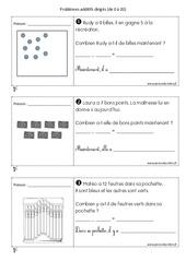 Addition - Problèmes additifs dirigés de 0 à 20 - CP - Exercices