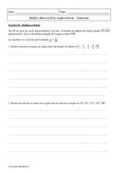 Angle orienté – Radian – Première – Exercices de mesure