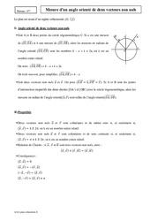 Mesure d'un angle orienté de deux vecteurs non nuls – Première – Cours