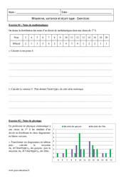 Ecart type et moyenne variance – Première – Exercices corrigés