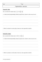 Cosinus et sinus d'un réel – Première – Exercices de trigonométrie