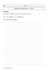 Produit scalaire – Première – Exercices corrigés – Application