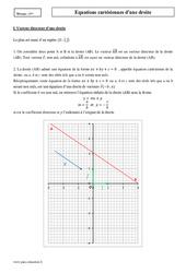 Equation cartésienne d'une droite – Première – Cours