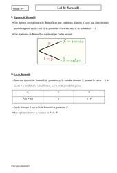 Loi de Bernoulli – Première – Cours