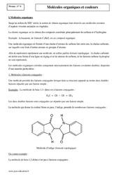 Molécules organiques et couleurs - Première - Cours