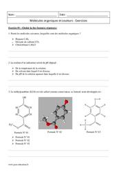 Couleurs – Molécules organiques – Première – Exercices corrigés
