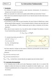 Interactions fondamentales – Première – Cours