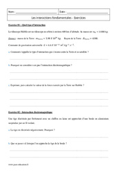 Interactions fondamentales - Première - Exercices à imprimer