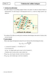Cohésion des solides ioniques - Première - Cours