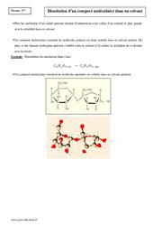 Dissolution d'un composé moléculaire dans un solvant - Première - Cours