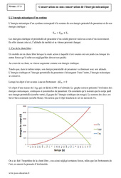 Conservation ou non conservation de l'énergie mécanique - Première - Cours