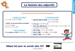 Leçon, trace écrite sur le féminin des adjectifs au Ce2