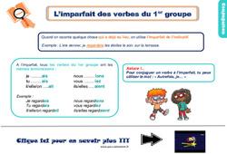 Leçon, trace écrite sur l'imparfait des verbes du 1er groupe – Ce1