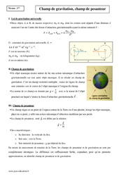 Champ de gravitation, champ de pesanteur – Première – Cours