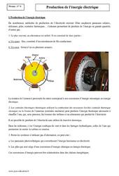 Production de l'énergie électrique – Première – Cours