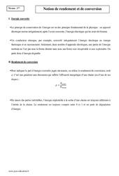 Notion de rendement et de conversion - Première - Cours