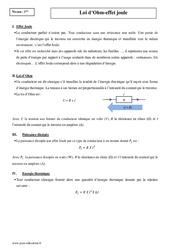 Loi d'Ohm - Effet joule - Première - Cours