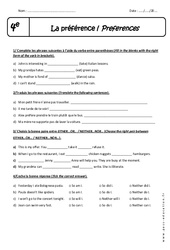 Preferences – 4ème – Exercices à imprimer