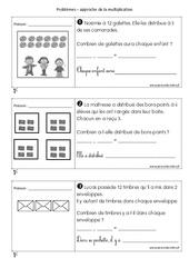 Problèmes multiplicatifs - Cp - Exercices sur la multiplication