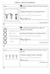 Multiplicatifs - Cp - Problèmes à imprimer