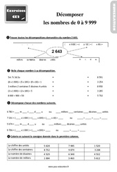 Exercices, révisions sur décomposer des nombres de 0 à 9 999 au Ce2 avec les corrections