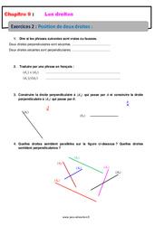 Position de deux droites – 6ème – Révisions – Exercices avec correction