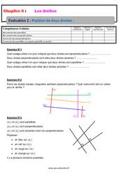 Position de deux droites – 6ème – Evaluation avec la correction