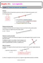 Tracer et mesurer un segment – 6ème – Cours