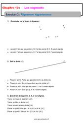 Alignement Appartenance sur les segments - 6ème - Révisions - Exercices avec correction