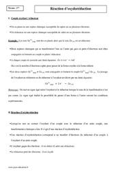 Réaction d'oxydoréduction – Première – Cours