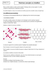 Matériaux amorphes ou cristallisés – Première – Cours