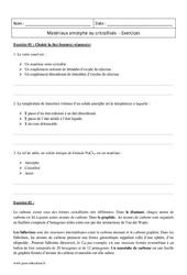 Amorphes – Cristallisés – Première – Exercices corrigés sur les matériaux
