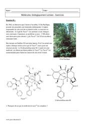 Molécules  biologiquement actives – Première – Exercices corrigés