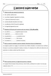 Accord sujet-verbe - Ce2 - Exercices corrigés