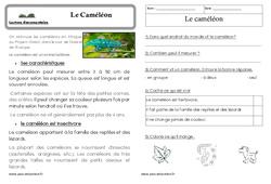 Le caméléon - Cp - Lecture documentaire