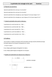 Périmètre du rectangle et du carré – Cm1 – Exercices – Mesures – Cycle 3