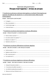 Phrases interrogatives et formes de phrases - Cm1 - Exercices